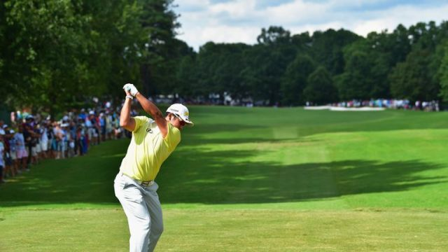 Hideki Matsuyama of Japan plays his shot from the ninth tee  during the third round of the 2017 PGA Championship at Quail Hollow