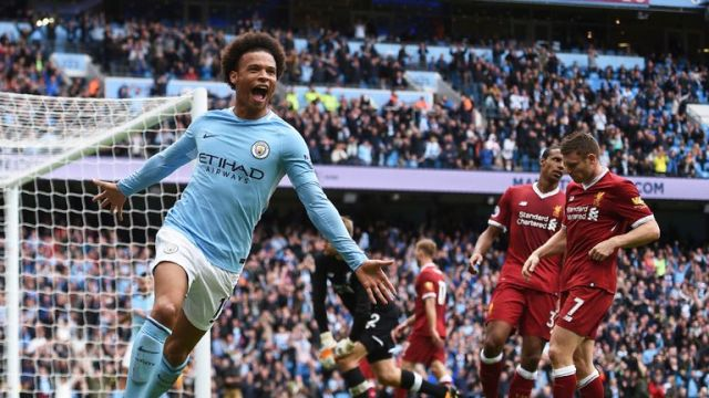 Leroy Sane scores a fourth against 10-man Liverpool