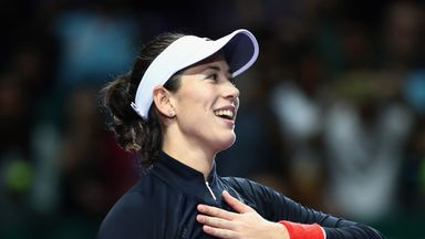Garbine Muguruza thumped Jelena Ostapenko on the opening day of the WTA Finals