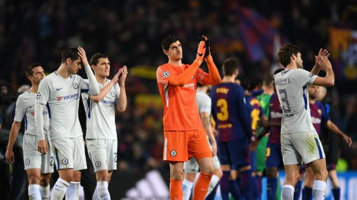 Chelsea players applaud the away fans at the Nou Camp