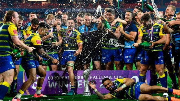 Cardiff Blues celebrating their Challenge Cup title in Bilbao in May
