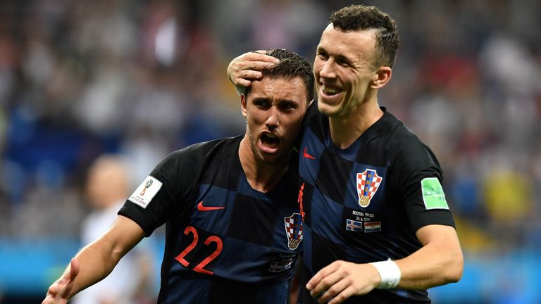 Josip Pivaric celebrates during Croatia's win over Iceland