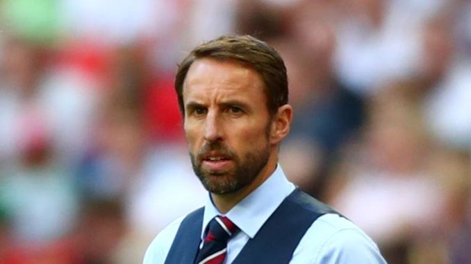 England manager Gareth Southgate looks on at Wembley