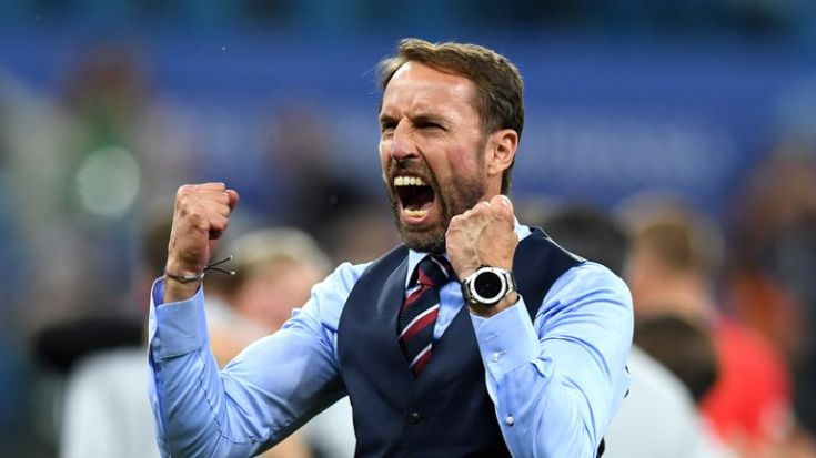 Image result for southgate celebrates against tunisia