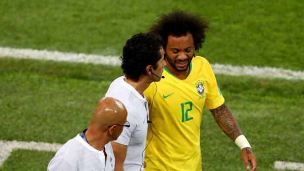 Marcelo limped off during Brazil's win over Serbia