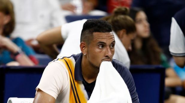 Nick Kyrgios eventually won his second-round match at the US Open - but only after a pep talk from Mohamed Lahyani
