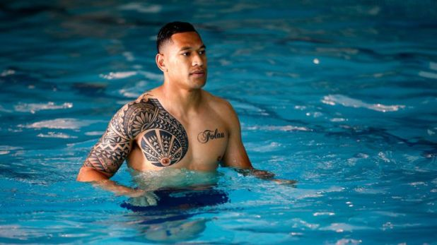 Australia star Israel Folau will be among the many rugby internationals asked to cover up their tattoos at the World Cup
