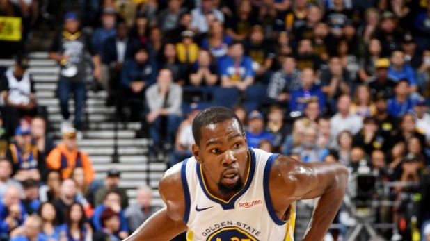 Golden State Warriors' Kevin Durant in possession against the Oklahoma City Thunder