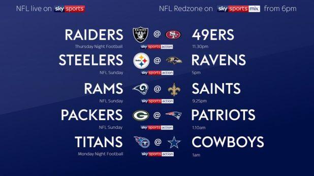 Week Nine NFL live on Sky Sports