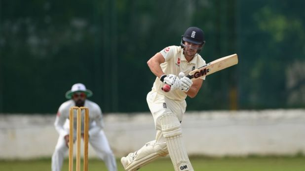 Rory Burns in action during England's warm-up game against the Sri Lanka Board XI in Colombo
