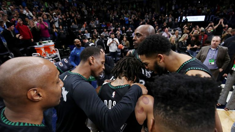 The Minnesota Timberwolves celebrate during the game against the Utah Jazz on October 31, 2018 at Target Center in Minneapolis, Minnesota