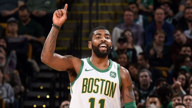 Kyrie Irving initiates the Boston Celtics' offense