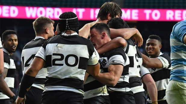 The Barbarians scored three converted tries, plus the drop goal, in the second half to win from 28-14 down