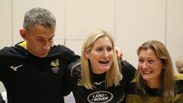 Mel Mansfield (centre) succeeded Tamsin Greenway as Wasps head coach last summer
