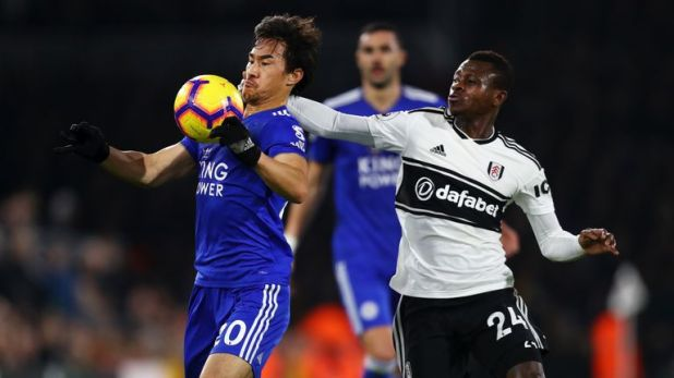 Shinji Okazaki in action against Fulham on Wednesday night