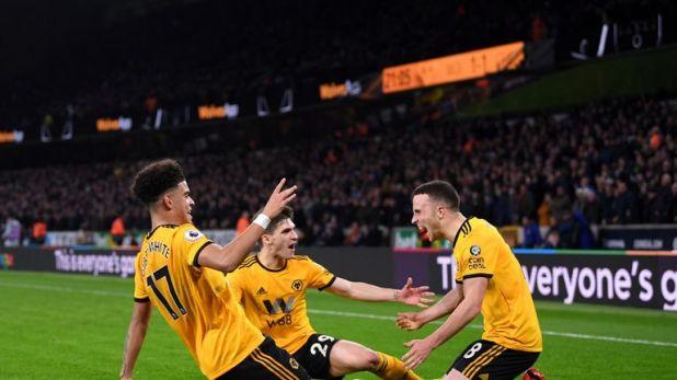 Diogo Jota celebrates after scoring the winner against Chelsea in December