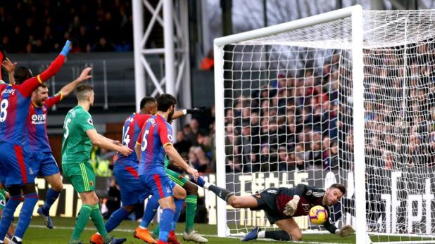Crystal Palace's opener came from a Craig Cathcart own goal after a scramble in the box