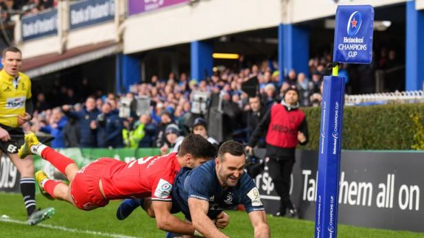 Dave Kearney dives over for Leinster's second try