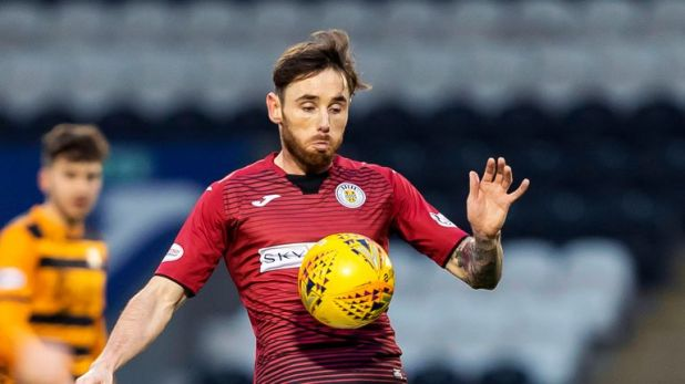 Greg Tansey in action for St Mirren against Alloa Ath in the Scottish Cup - his first appearance since joining the Paisley side after leaving Aberdeen