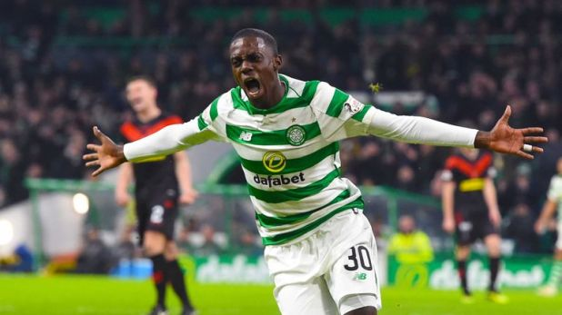 Timothy Weah scores for Celtic on his debut in the Scottish Cup win against Airdrieonians