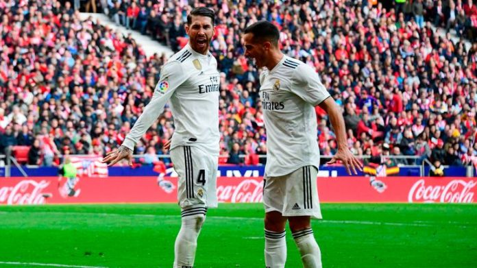 Sergio Ramos (left) celebrates after scoring with Real Madrid midfielder Lucas Vazquez