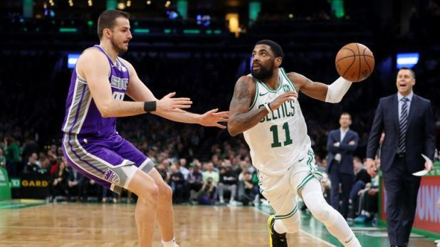 Kyrie Irving drives against the Sacramento Kings