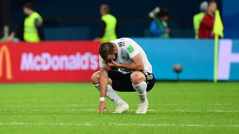 Gonzalo Higuain shows his emotions after Argentina's win over Nigeria at the 2018 World Cup