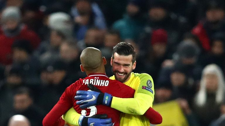 Brazilians Alisson Becker and Fabinho joined Liverpool last summer for a combined £110.7m
