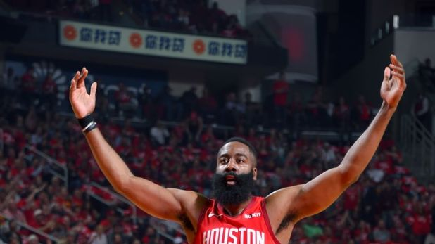 James Harden of the Houston Rockets reacts to a play against the Utah Jazz during Game Two of Round One of the 2019 NBA Playoffs