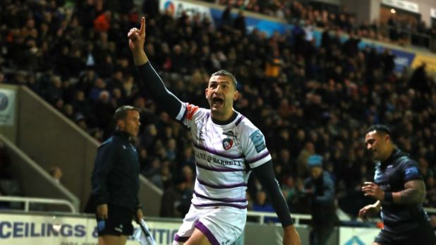 Jonny May celebrates a try for Leicester in the Falcons' last outing