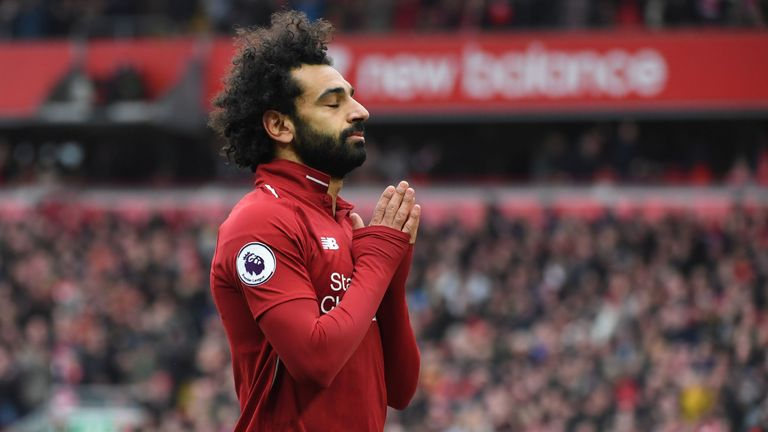 Mohamed Salah celebrates his 22nd goal in all competitions this season