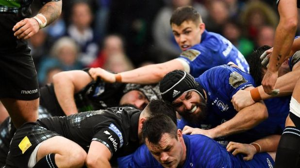 Cian Healy scores Leinster's  second try