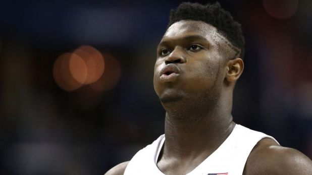 Zion Williamson in action for Duke in the NCAA Tournament
