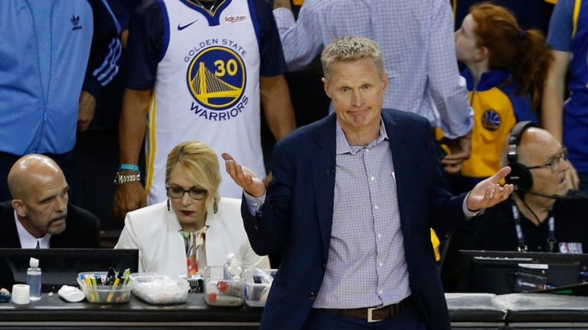 Golden State Warriors head coach Steve Kerr questions a call in Game 6 of the NBA Finals