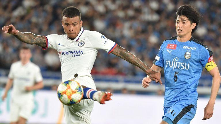 Chelsea midfielder Kenedy (left) in action against Kawasaki