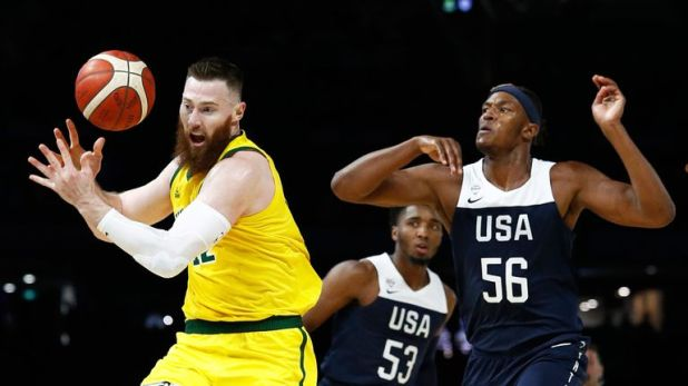 Aron Baynes and Myles Turner battle for possession