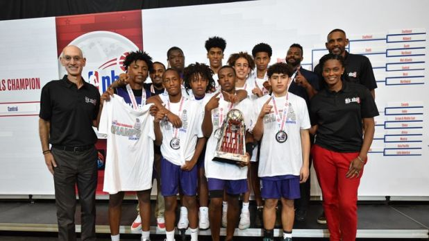The US West boys team celebrate their victory at the Jr. NBA Global Championship