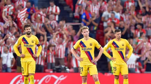 Frenkie de Jong and Clement Lenglet react to Athletic Bilbao's goal