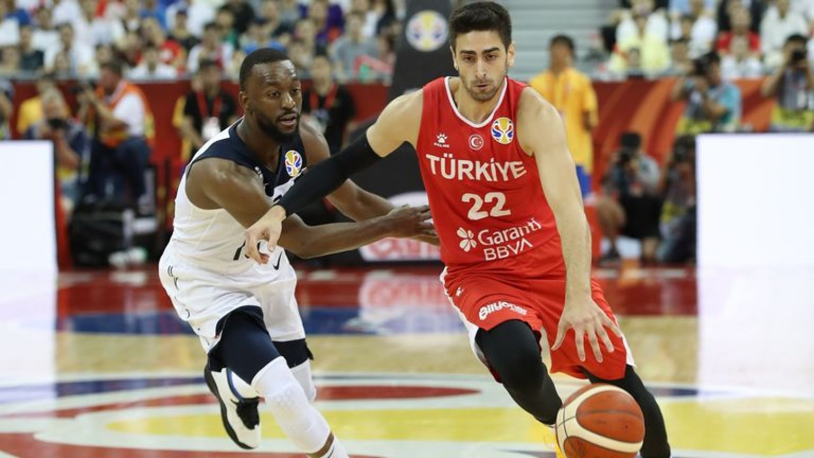 Furkan Korkmaz drives past Kemba Walker in Turkey's narrow defeat FIBA World Cup defeat against the USA