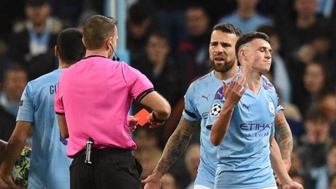Phil Foden saw red for two bookable offences late on at the Etihad