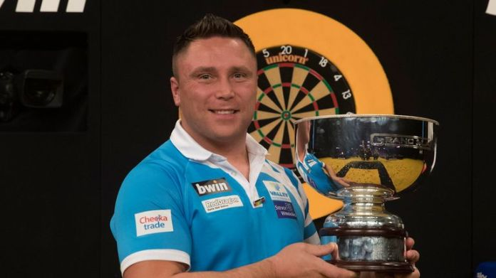 Gerwyn Price landed his first major title with victory at the Grand Slam of Darts two years ago - he will start his bid to win the title for a third year in a row on Monday