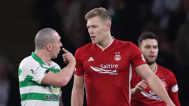 Sam Cosgrove clashed with Scott Brown after being sent off at Celtic Park