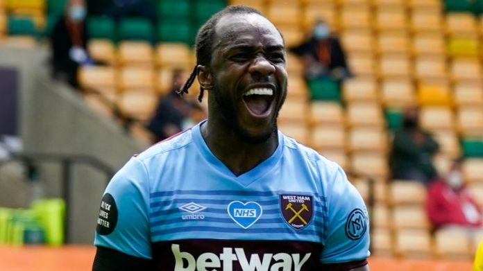 Michail Antonio celebrates after scoring for West Ham against Norwich