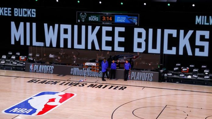 The court remained empty at the scheduled tip-off time for the Milwaukee Bucks play-off game against the Orlando Magic