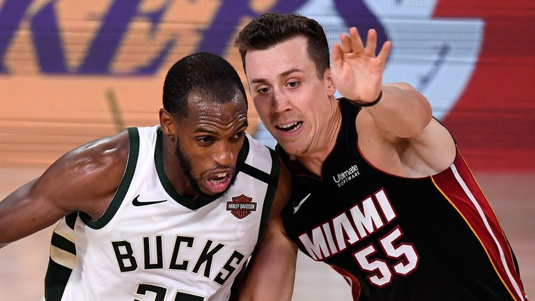 Duncan Robinson guards Khris Middleton during the Eastern Conference semi-finals