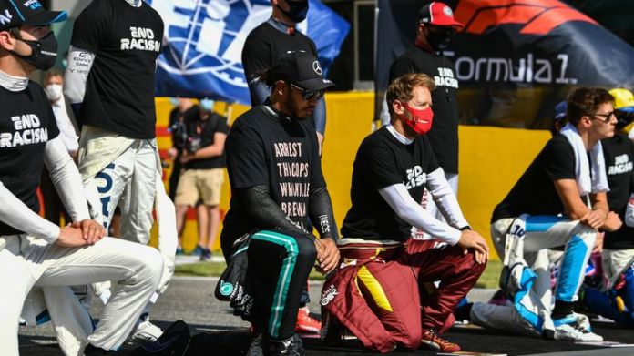 Hamilton is one of the F1 drivers who chose to take a knee ahead of the Grands Prix this season