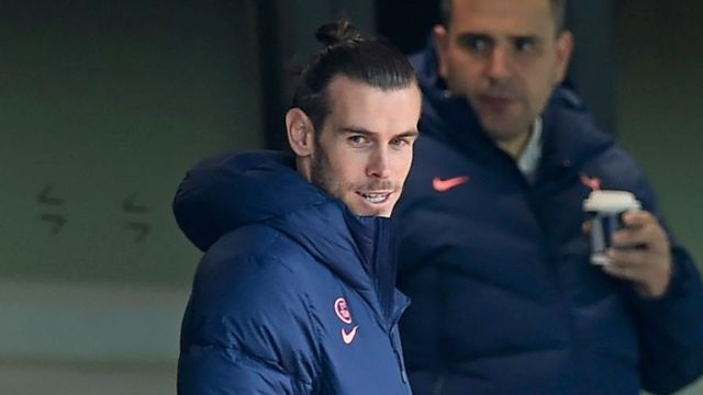 Spurs loanee Gareth Bale in the stands for their match against Newcastle