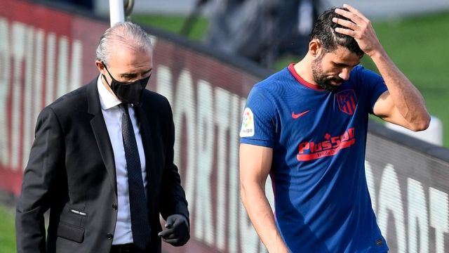 Diego Costa appeared to pick up an injury for Atletico Madrid and could be a doubt for their Champions League opener next week