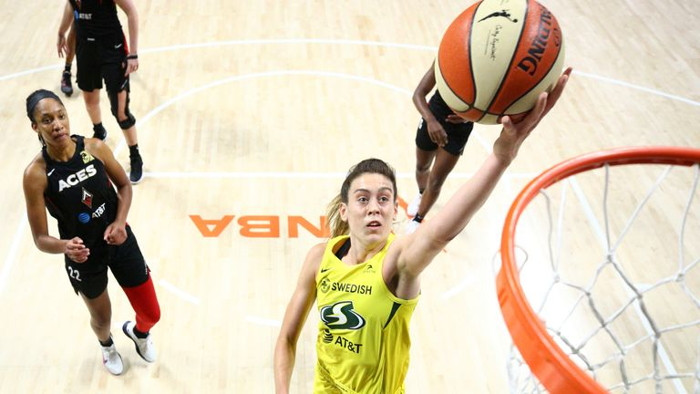 Breanna Stewart of the Seattle Storm drives to the basket against the Las Vegas Aces in Game Three of the WNBA Finals