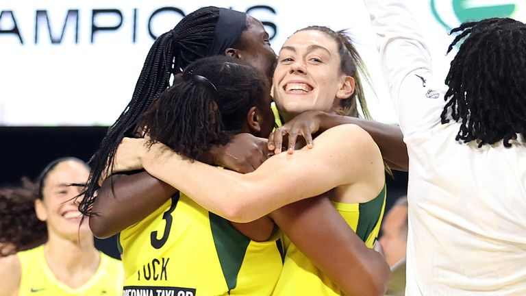 Breanna Stewart celebrates with her team-mates after the Seattle Storm sealed the 2020 WNBA championship